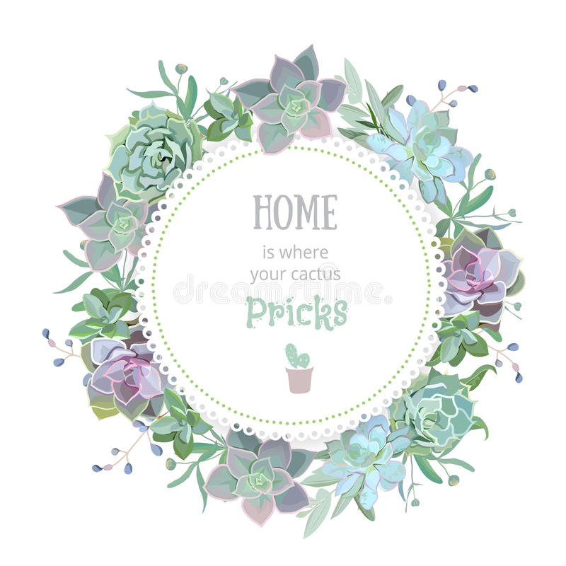 Green colorful succulent Echeveria vector design round card. Natural cactus frame in modern funky style royalty free illustration