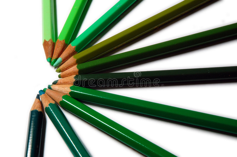 Green Colour Pencils stock photo