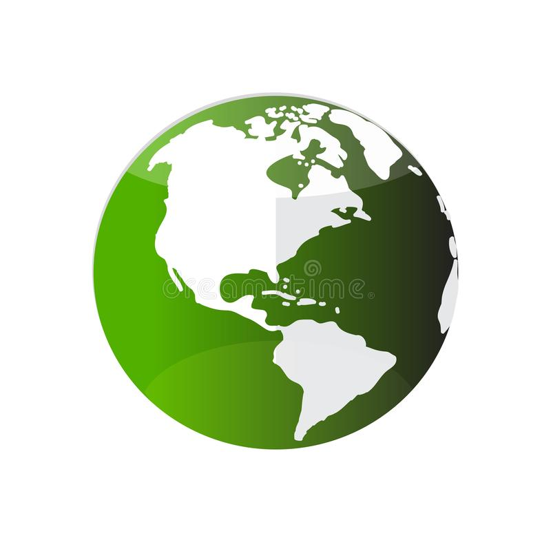 Green colour planet Earth or globe t icon, isolated on white background. stock illustration