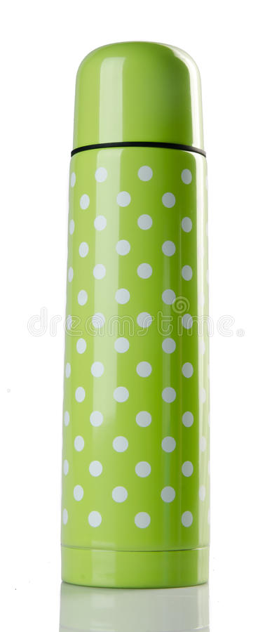 Green colour stainlees steel thermo flask stock photos