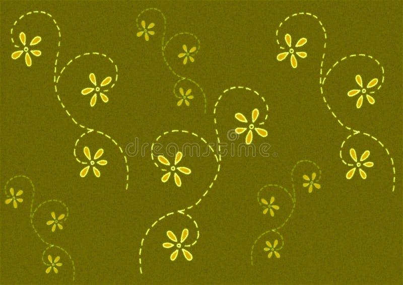 Green Coloured Flower Pattern stock illustration