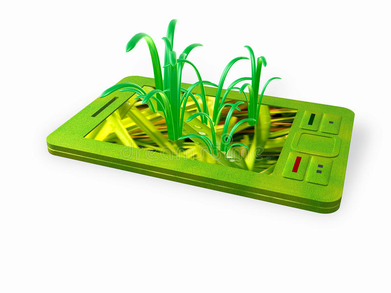 Green communicator. Communicator with grass on the screen royalty free illustration