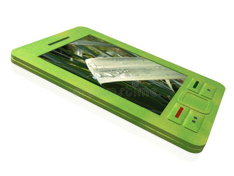 Green communicator. Communicator with grass on the screen, 3D illustration vector illustration