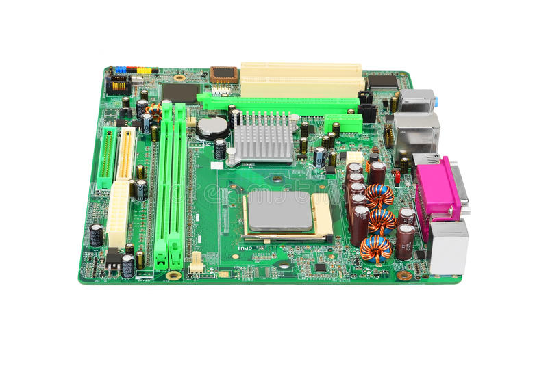 Green computer motherboard. Printed computer motherboard, isolated on white background stock images