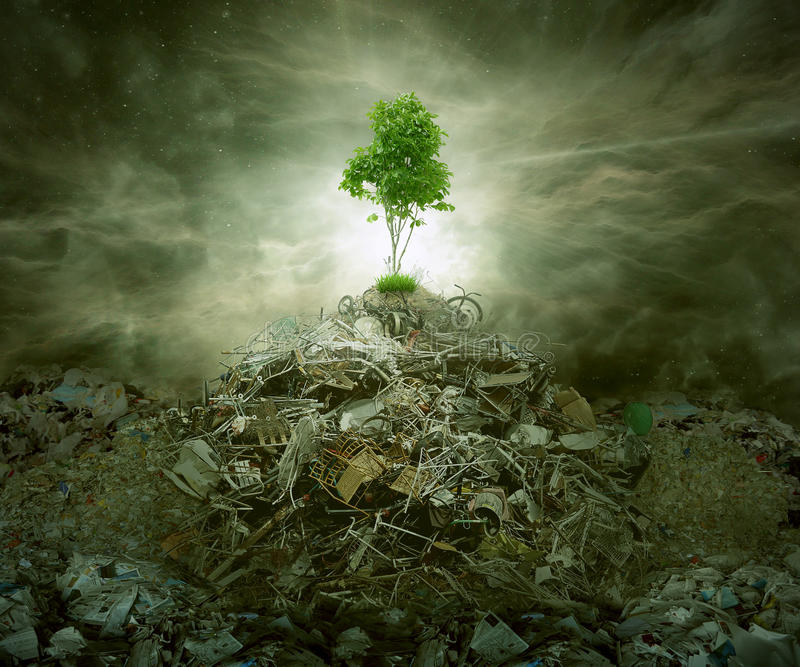 Green concept as tree on top mountain heap of garbage royalty free stock photos