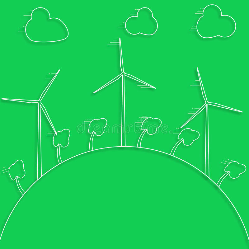 Green concept - wind energy. Winds generators - 3d vector style. stock illustration