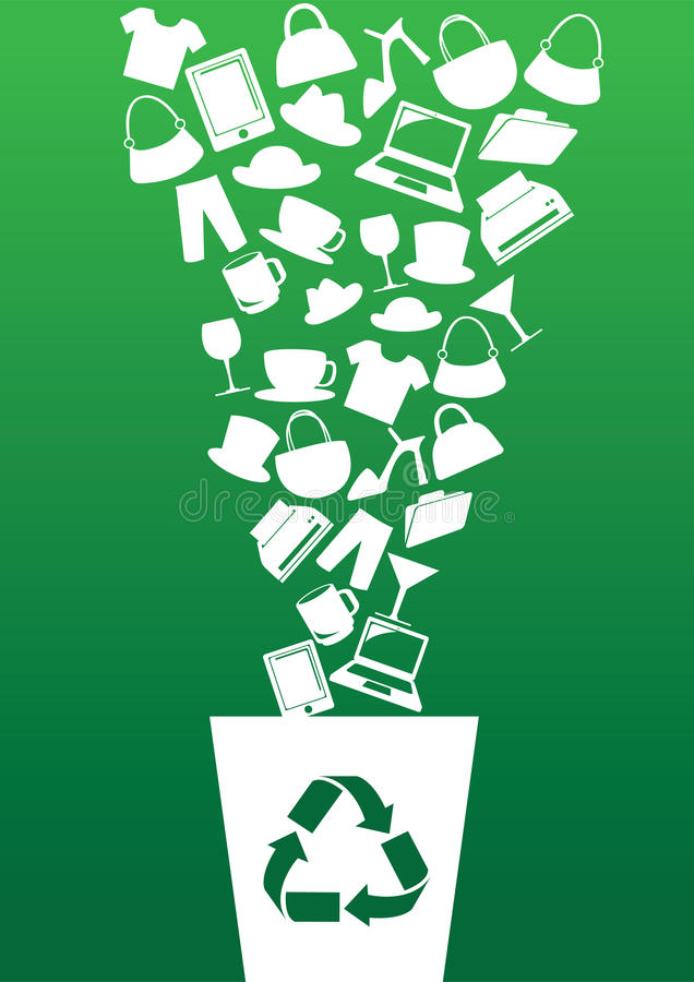 Green Consumerism and Recycling Concept. Vector illustration of different consumer products going into recycle bin. Concept for green consumerism contradiction royalty free illustration