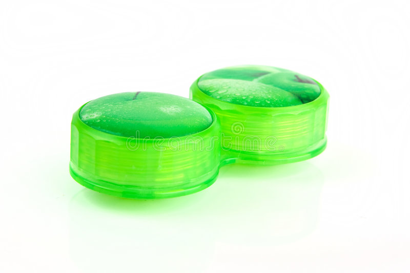 Green Contact lens case royalty free stock photo