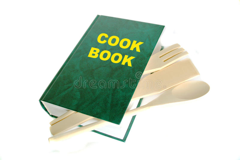 Green cook book. Isolated on white stock images