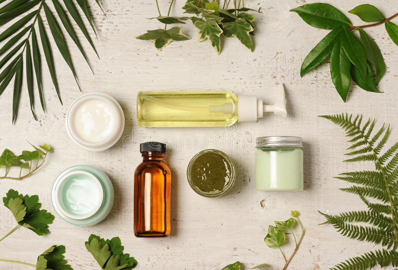 Green cosmetic arrangement stock photos
