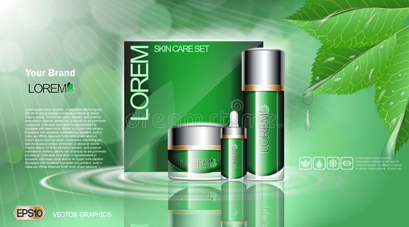 Green Cosmetic set ads template, moisturizing lotions collection cover mockup. Organic leaves with waterdrops. Dazzling vector illustration