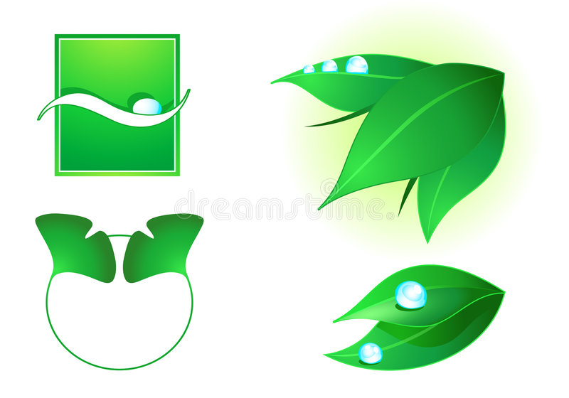 Green cosmetics elements. Nature elements for eco (green) cosmetics decoration stock illustration