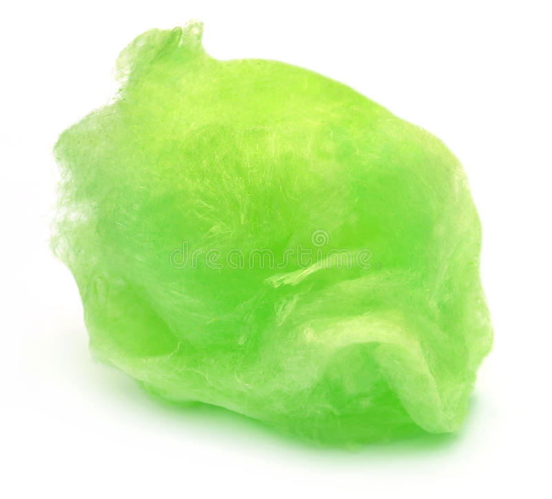 Green cotton candy. Over white background royalty free stock photo