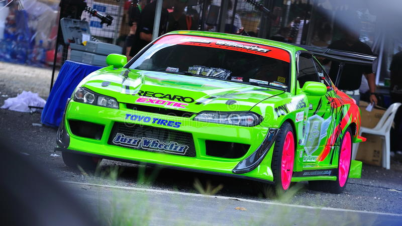 Green Coupe at Formula Drift 2010. Green coupe at Singapore Formula Drift 2010 at F1 Pit Building on 24 Apr 2010 stock photography