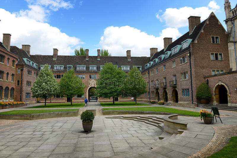Green Courtyard and Buildings, St Johns College. Courtyard with Stone Steps and Trees Enclosed by Historic Building Facades, St Johns College, University of stock photos