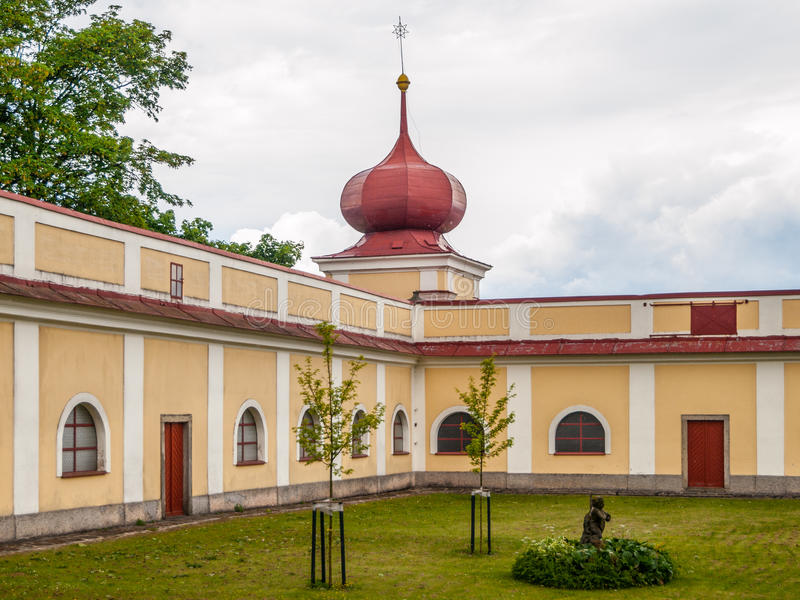 Green courtyard of Horni Hedec Monastery. Green courtyard of Monastery and place of pilgrimage on Mountain of Holy Mother, Horni Hedec, Czech Republic stock photo