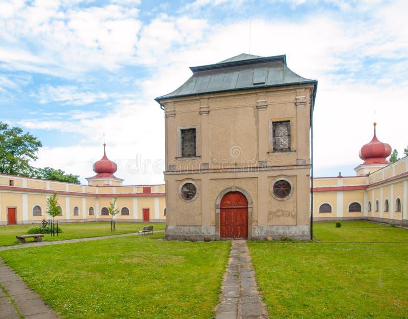 Green courtyard of Horni Hedec Monastery. Green courtyard of Monastery and place of pilgrimage on Mountain of Holy Mother, Horni Hedec, Czech Republic royalty free stock photos