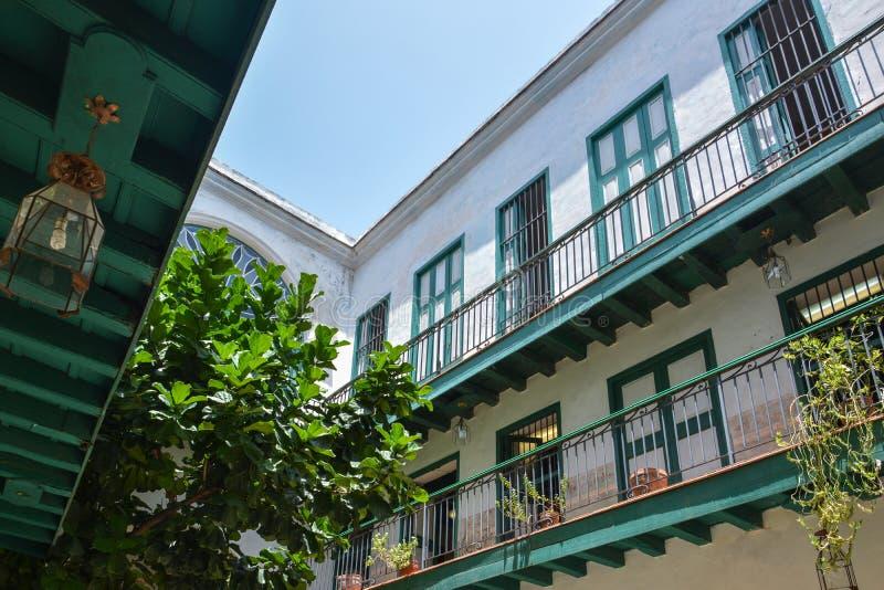 Green courtyard in old havana. Cuba stock image
