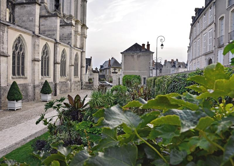 The green courtyard of the old town, Blois. Windows historical architecture royalty free stock images