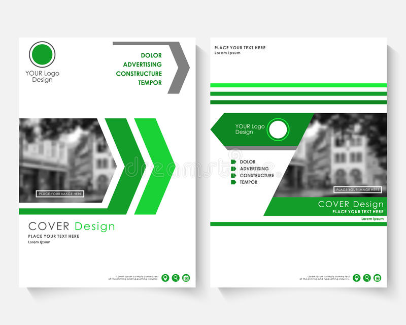 Green cover design template for annual report. Modern business concept booklet. Magazine brochure with text. Catalog royalty free illustration