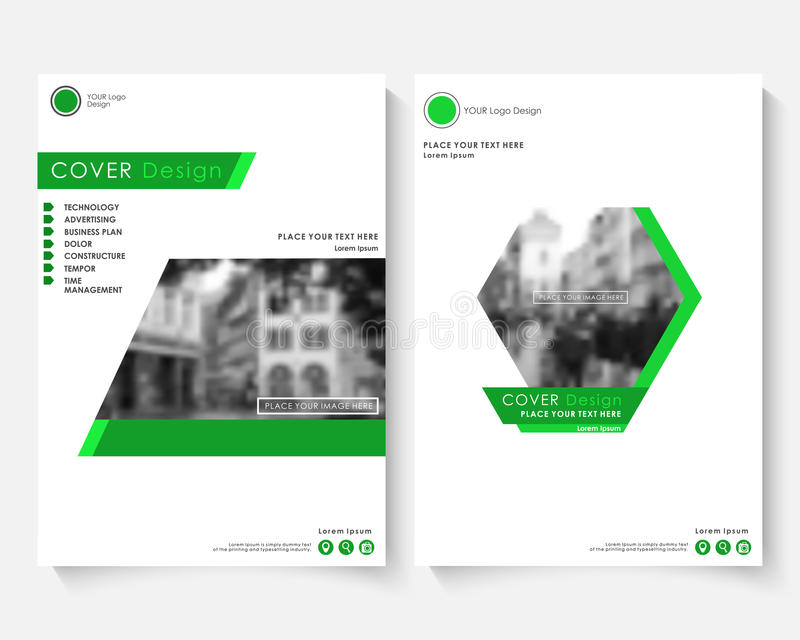 Green cover design template for annual report. Modern business concept booklet. Magazine brochure with text. Catalog vector illustration