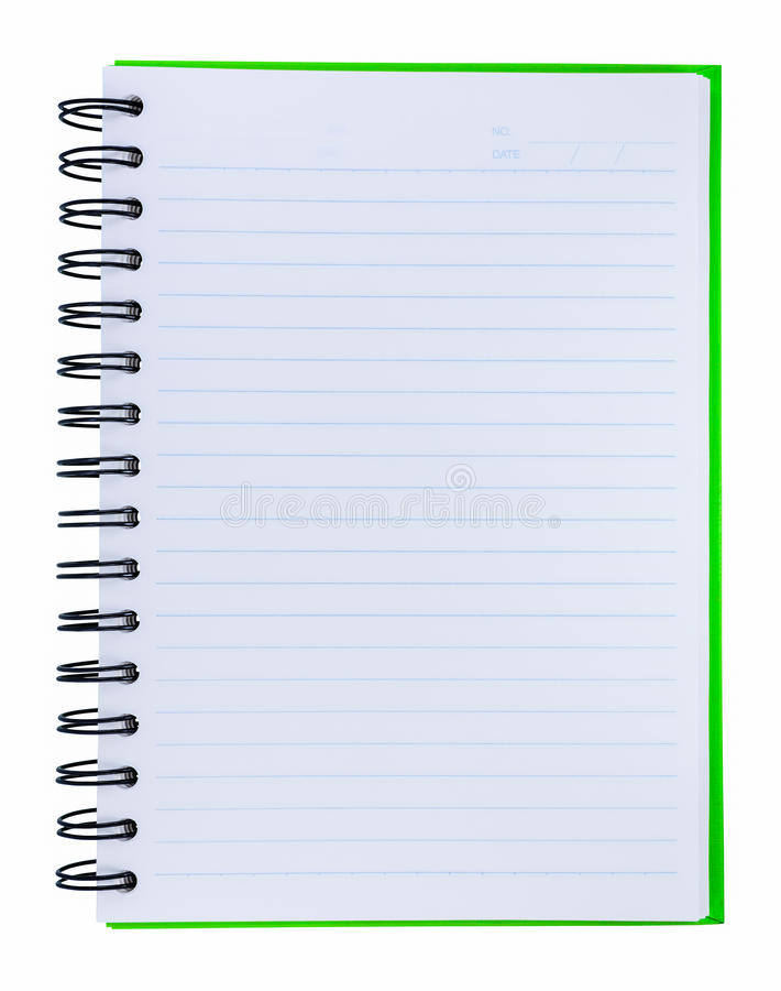 Green cover of notebook royalty free stock photo