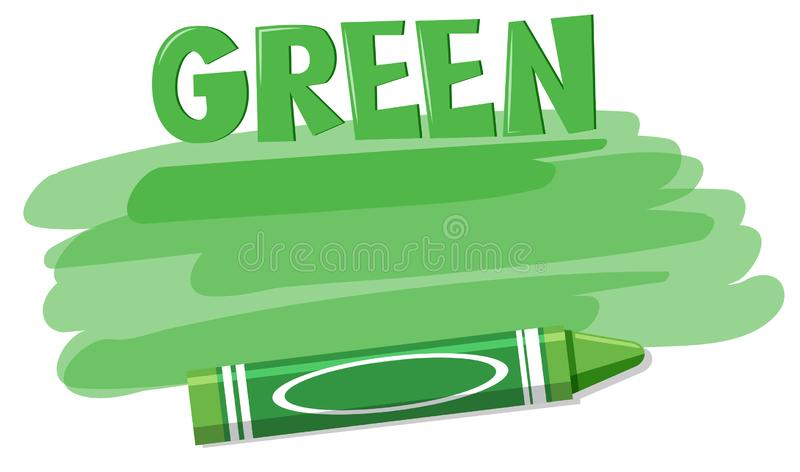 A green crayon on white background vector illustration