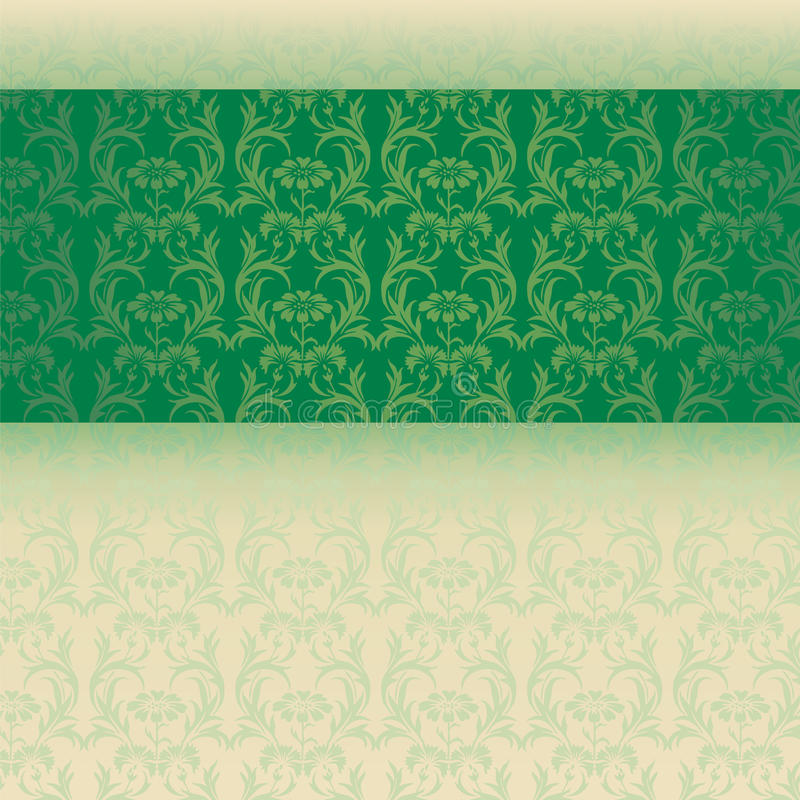 Green and cream classical oriental floral horizontal banner royalty free illustration