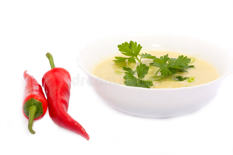 Green cream's soup with parsley stock photos