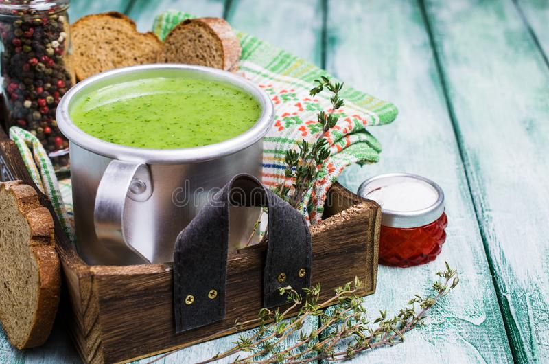 Download Green cream soup stock photo. Image of kitchen, natural - 108886962