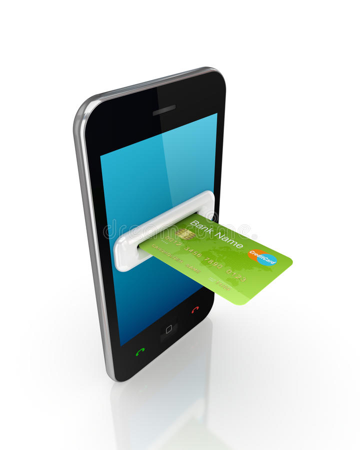 Free Green Credit Card And Modern Mobile Phone. Royalty Free Stock Photography - 23555907