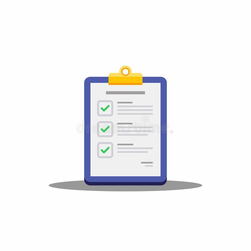 Check list, Clipboard, Document, Finance, Business, No background, Isolated, illustration, Vector, Flat icon stock illustration