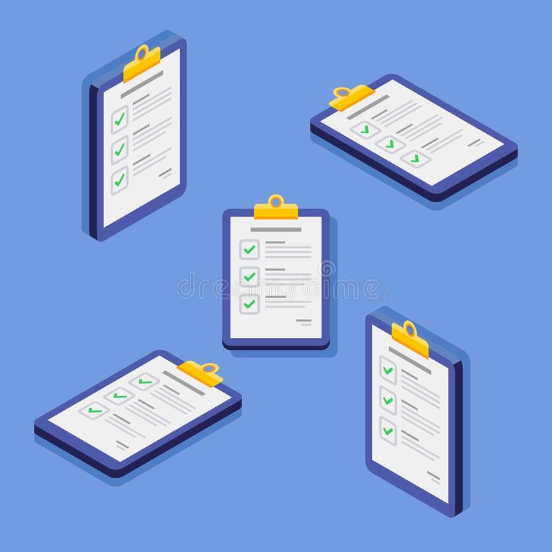 Check list, Clipboard, Document, Finance, Business, Isometric, Isolated, illustration, Vector, Flat icon royalty free illustration