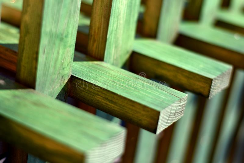 Green criss cross planks texture royalty free stock photos