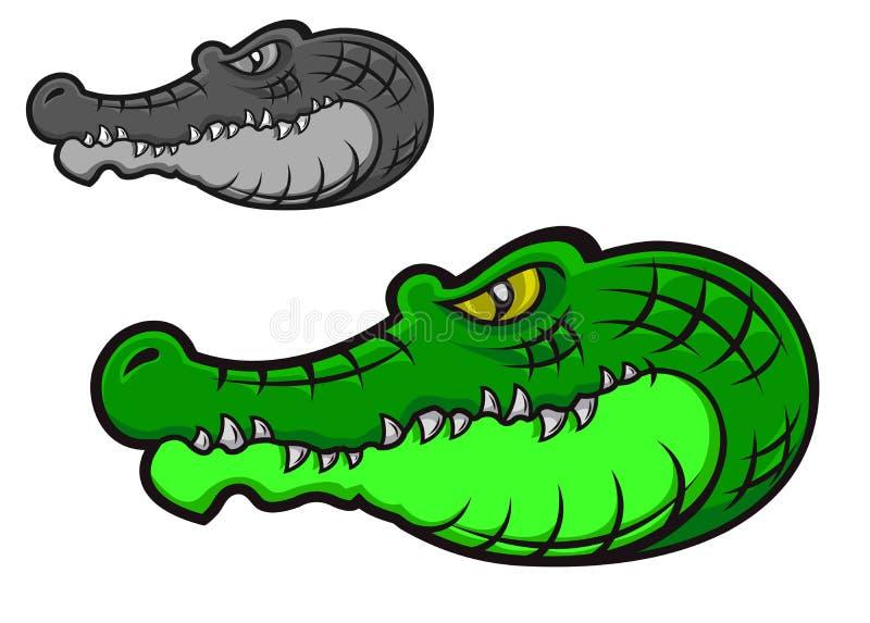 Green crocodile. Head for tattoo design vector illustration