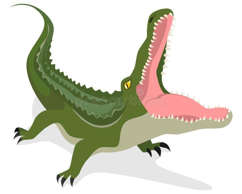 Green crocodile attacks. Vector illustration of a green crocodile attacks vector illustration