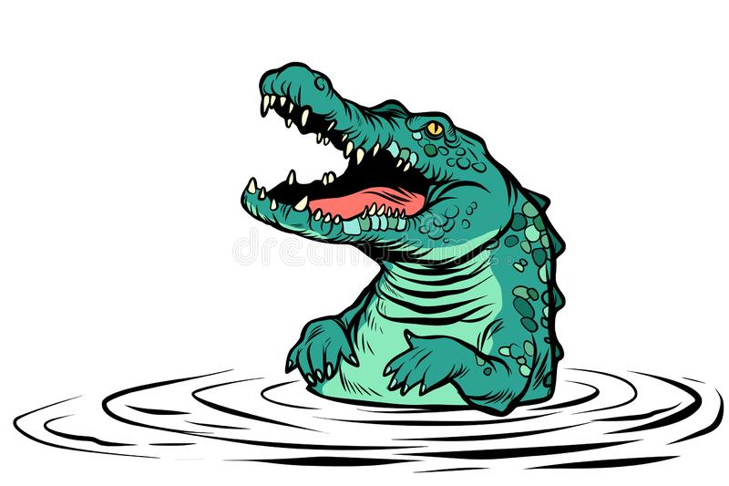 Green crocodile character isolate on white background stock illustration