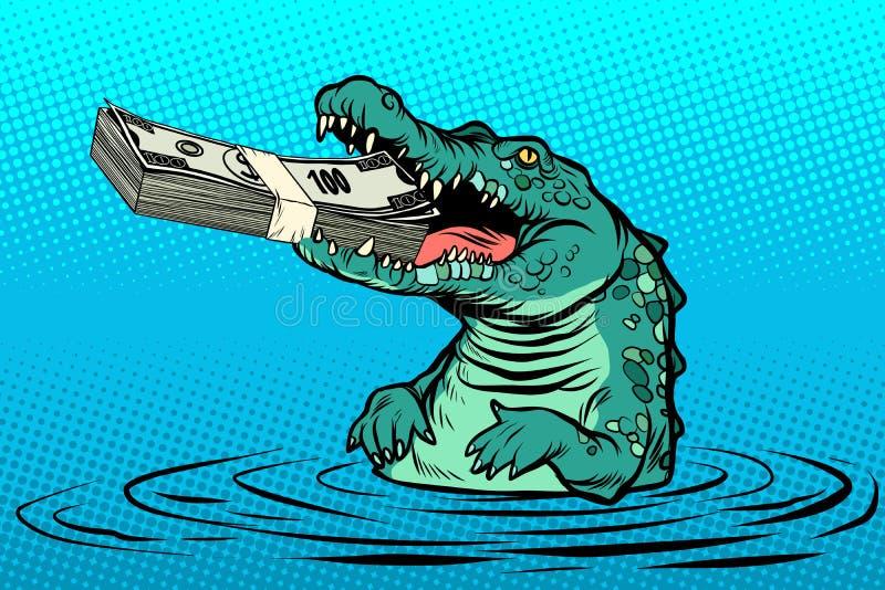 Green crocodile eats money royalty free illustration