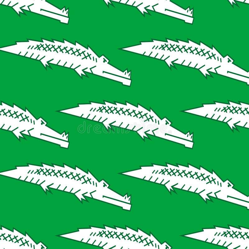 Green crocodile seamless pattern royalty free illustration