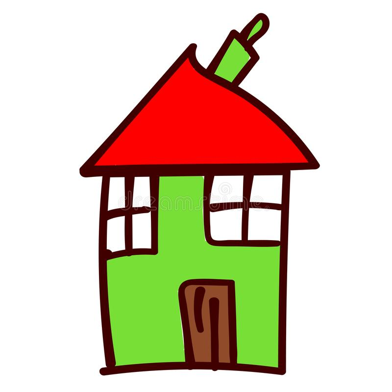 House in the style of childrens drawings. Green crooked house in the style of childrens drawing. Vector illustration. Isolated white background royalty free illustration