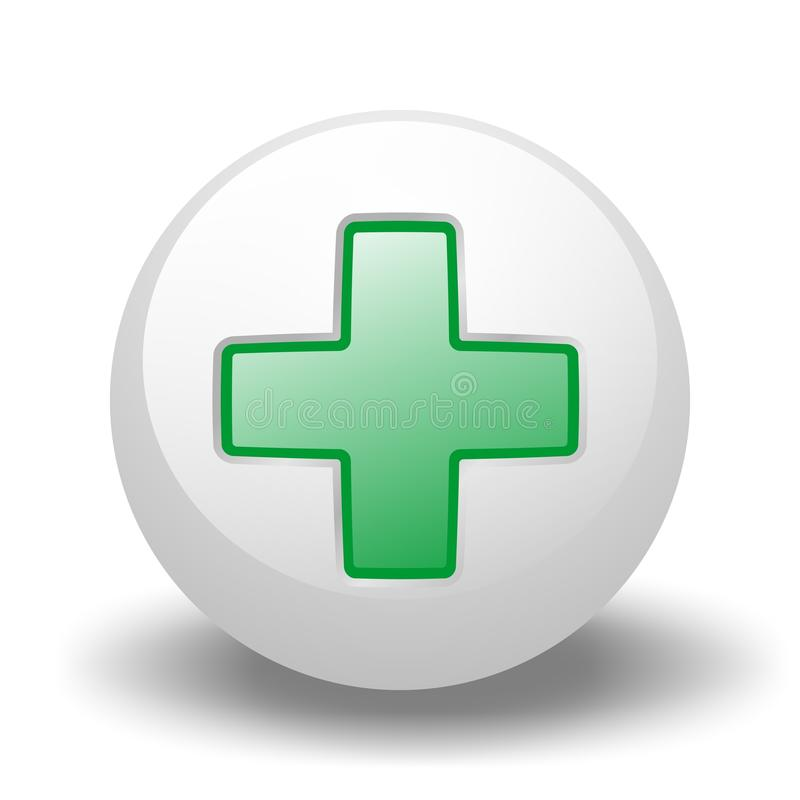 Download Green Cross On Ball stock illustration. Image of button - 10714329