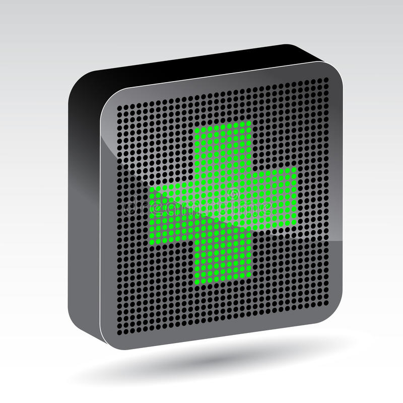 Green cross led icon royalty free illustration