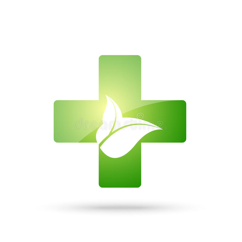 Green cross sign with leaves vector illustration