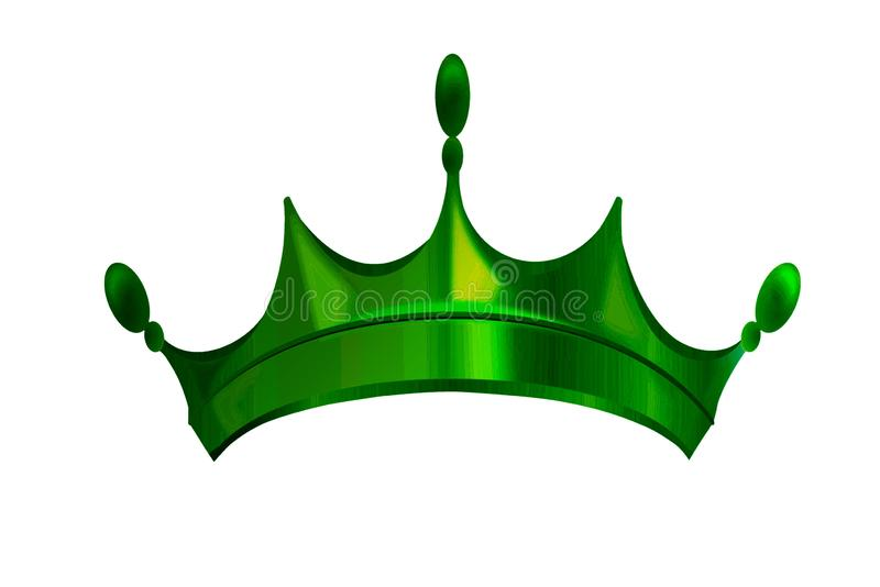 Green crown symbol icon  on white background. Illustration design. Green crown symbol icon logo on white background. Illustration design, accessories, object stock photos