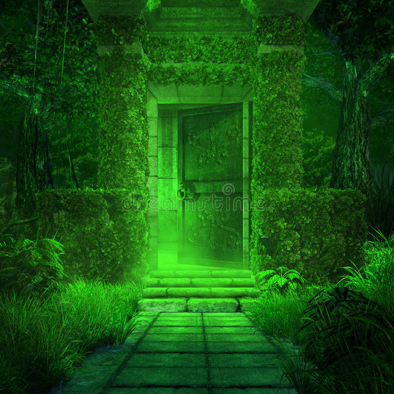 Green Crypt. Entry to the old crypt, also includes green fog, trees and ivy royalty free illustration