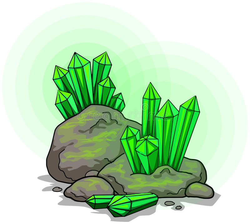 Green crystals. Glowing green crystals, gems in rock vector illustration