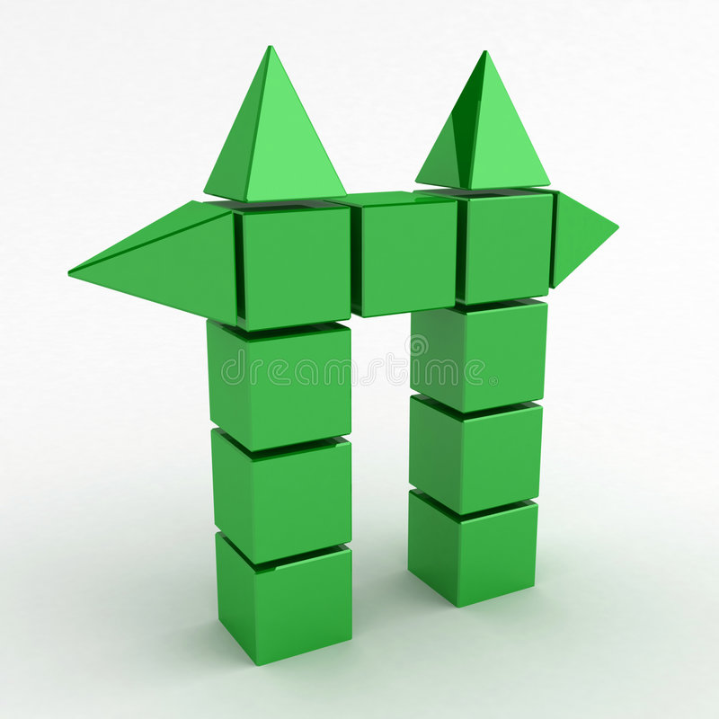 Green Cube Gate. Green 3d cube and pyramid shapes forming a gate vector illustration