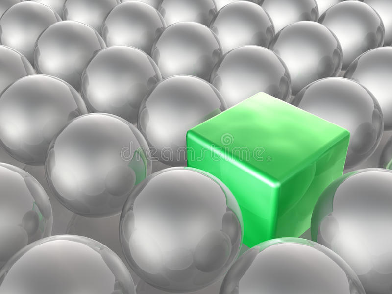 Green cube and grey spheres vector illustration