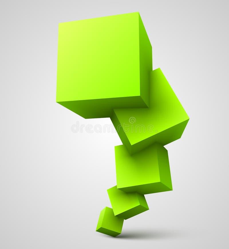 Green cubes 3D royalty free illustration