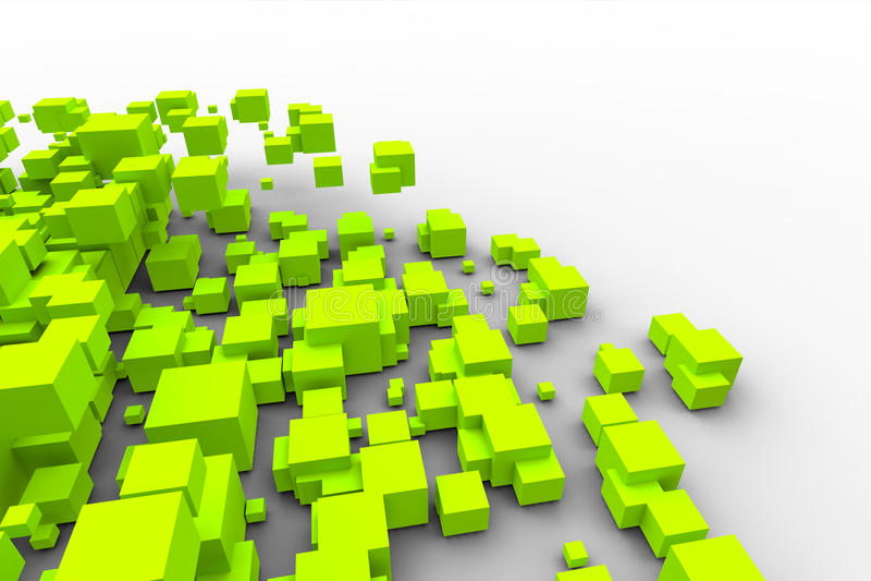 Download Green cubes flying stock illustration. Illustration of computer - 24926713